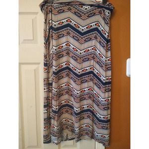 Living Doll Multicolored Maxi Skirt 1X